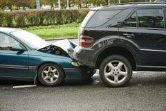 Столкновение автокатастрофы стоковое фото