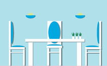 Столовая с мебелью таблица стулов обедая Плоский вектор бесплатная иллюстрация