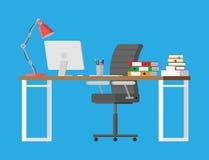 Стол офиса с компьютером Стоковая Фотография