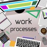 Стол офиса с клавиатурой, калькулятором, канцелярскими принадлежностями Стоковые Изображения