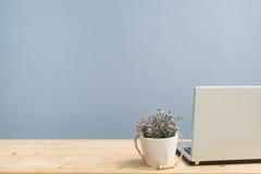Стол офиса с розой пинка на цветочном горшке и задняя часть контролируют компьтер-книжку Стоковое фото RF