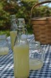 Стол для пикника с винтажной корзиной пикника, синью проверил ткань таблицы, бутылки лимонада Стоковые Изображения