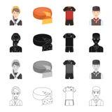Страна, Бельгия, нация, и другой значок сети в стиле шаржа Девушка, горничная, значки волос в собрании комплекта бесплатная иллюстрация
