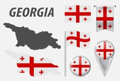 Страна Грузии E Флаг бесплатная иллюстрация
