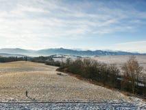 Страна зимы от трутня стоковая фотография