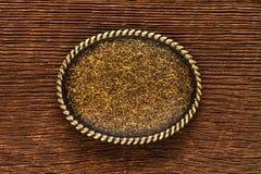 Страна и западная классическая пряжка пояса на древесине Стоковые Фото