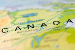 Страна Канады на карте Стоковая Фотография RF