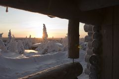 страна чудес зимы Лапландии Стоковые Фото