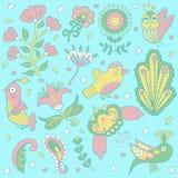 страна чудес вектора картины иллюстрации предпосылки флористическая красивые милые птицы doodle Стоковое фото RF