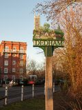 страна essex столба знака деревни dedham специальная Стоковая Фотография