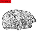 Страница ¡ Ð oloring для взрослых Смешной капризный кот в лежа положении Стоковое Изображение RF