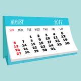 Страница 2017 -го в августе календаря календаря настольного компьютера Стоковые Изображения