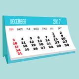 Страница 2017 -го в декабре календаря календаря настольного компьютера Стоковая Фотография RF
