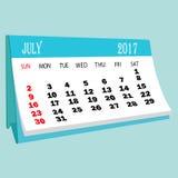 Страница 2017 -го в июле календаря календаря настольного компьютера Стоковые Фотографии RF