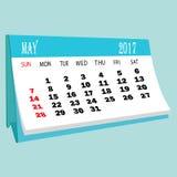 Страница 2017 -го в мае календаря календаря настольного компьютера Стоковое Фото