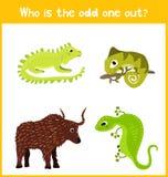Страница головоломки игры шаржа детей красочная воспитательная для книг и кассет детей на теме дополнительной животной находки ми бесплатная иллюстрация