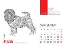 Страница календаря настольного компьютера на 2018 с изображением собаки Стоковое Изображение RF