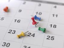 Страница календаря с чертеж-штырями, стоковое фото rf