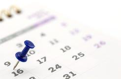страница календаря с чертеж-штырем Стоковые Изображения RF