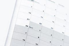 Страница календаря Стоковые Фотографии RF