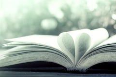 Страница книги сердца на предпосылке bokeh стоковое изображение