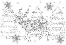 Страница книжка-раскраски для взрослого и ребенк Изображение расцветки оленей chiristmas zentangle стилизованных в зиме и красиво иллюстрация вектора