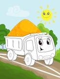 Страница книжка-раскраски для детей дошкольного возраста с красочным автомобилем тележки предпосылки и эскиза работая для красить иллюстрация вектора