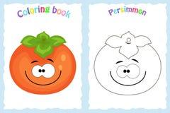 Страница книжка-раскраски для детей с красочной хурмой и sk стоковая фотография rf