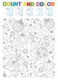 Страница книжка-раскраски отсчет и цвет Printable рабочее лист для детского сада и preschool Тренировки для номеров исследования  иллюстрация вектора