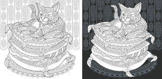 Страница книжка-раскраски с котом иллюстрация вектора
