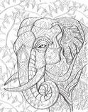 Страница книжка-раскраски слона стоковые изображения rf