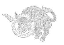 Страница книжка-раскраски с Тавром символа зодиака иллюстрация вектора