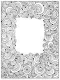 Страница книжка-раскраски трудного круга Uncolored взрослая Абстрактный uncolored вектор рамки Стоковые Изображения