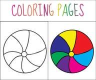 Страница книжка-раскраски Шарик Версия эскиза и цвета расцветка для детей также вектор иллюстрации притяжки corel Стоковые Фотографии RF