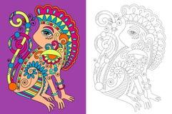 Страница книжка-раскраски для взрослых с необыкновенным иллюстрация вектора