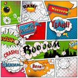 Страница комика разделила линиями с пузырями речи, звуковых эффектов Ретро модель-макет предпосылки Шаблон комиксов вектор Стоковые Изображения RF