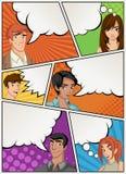 Страница комика с говорить людей Предпосылка шутки с пузырями речи иллюстрация вектора