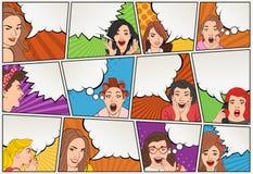 Страница комика с ретро говорить женщин Предпосылка шутки с пузырями речи иллюстрация штока