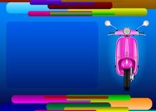 Страница конспекта плана и розовый электрический скутер иллюстрация штока