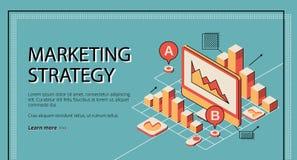 Страница маркетинговой стратегии приземляясь, диаграмма базы данных бесплатная иллюстрация