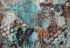 Страница мультимедиа Scrapbook Текстура, краска, розовые листья, марля стоковые изображения