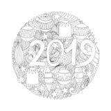 Страница Нового Года 2019 вектора крася иллюстрация штока