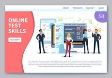 Страница онлайн испытывать приземляясь Интернет исследуя, форма теста контрольного списока Мобильный вопросник, клиенты голосуя о бесплатная иллюстрация
