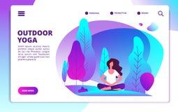 Страница посадки йоги Женщина делая разминку фитнеса Здоровые жизнь и раздумье в шаблоне дизайна сети леса плоском иллюстрация вектора