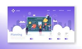 Страница посадки концепции управления потока операций Бизнесмены характеров планируя шаблон вебсайта процесса работы совместно бесплатная иллюстрация
