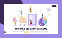 Страница посадки магазина Ecommerce глобальная ходя по магазинам Магазин женщины онлайн используя смартфон Розница электронной ко иллюстрация штока