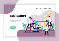 Страница посадки научной лаборатории стоковое изображение