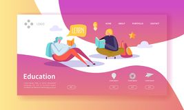 Страница посадки образования и науки Тренировка, курсы уча с плоским шаблоном вебсайта характеров людей иллюстрация штока