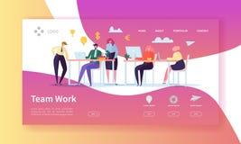 Страница посадки работы команды Знамя с плоскими бизнесменами характеров работая совместно шаблон вебсайта Легко редактируйте иллюстрация вектора
