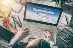 Страница праздника ресервирования поиска путешественника перемещения полета резервирования Стоковые Фотографии RF
